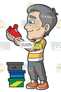 Shoe sales person clipart jpg royalty free library A Mature Man Checking Out New Running Shoes jpg royalty free library