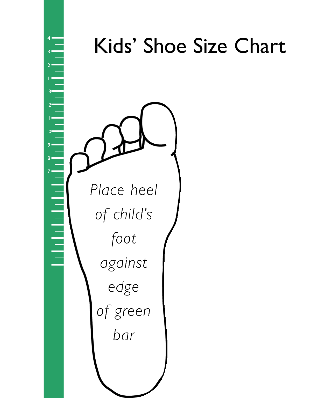 Shoe size clipart clipart free stock printable kids shoe size chart | scope of work template ... clipart free stock