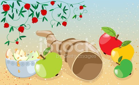 Shofar clipart apples free stock Symbols of Rosh Hashana: Pomegranates, Apples, Honey, Shofar ... free stock