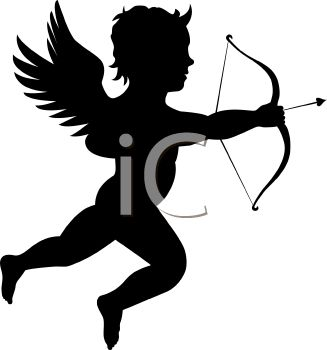 Shooting arrow clipart free stock Silhouette of a Cherub or Cupid Shooting a Bow and Arrow - Royalty ... free stock