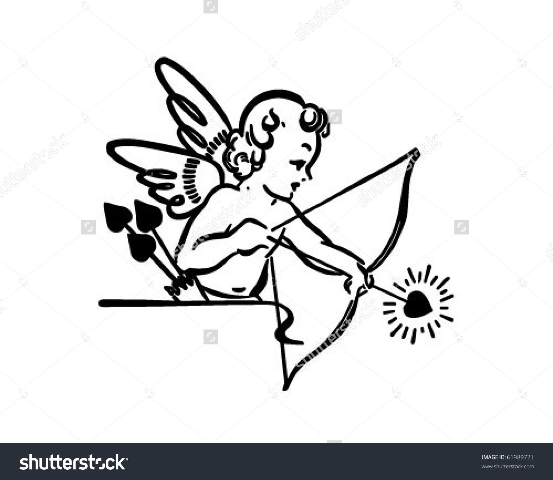 Shooting arrow clipart clip free download Cupid Shooting Arrow - Retro Clipart Stock Vector Illustration ... clip free download