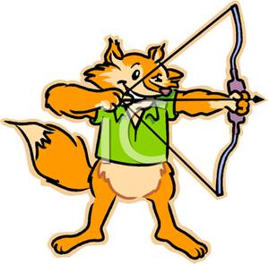 Shooting arrow clipart vector black and white stock Image: A Fox Shooting a Bow and Arrow vector black and white stock