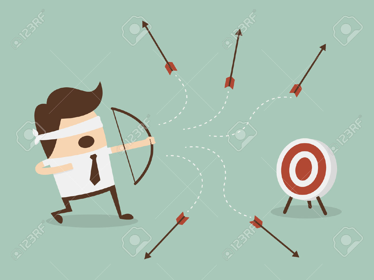 Shooting arrow target clipart clip art download Blindfold Businessman Shooting Arrow Royalty Free Cliparts ... clip art download