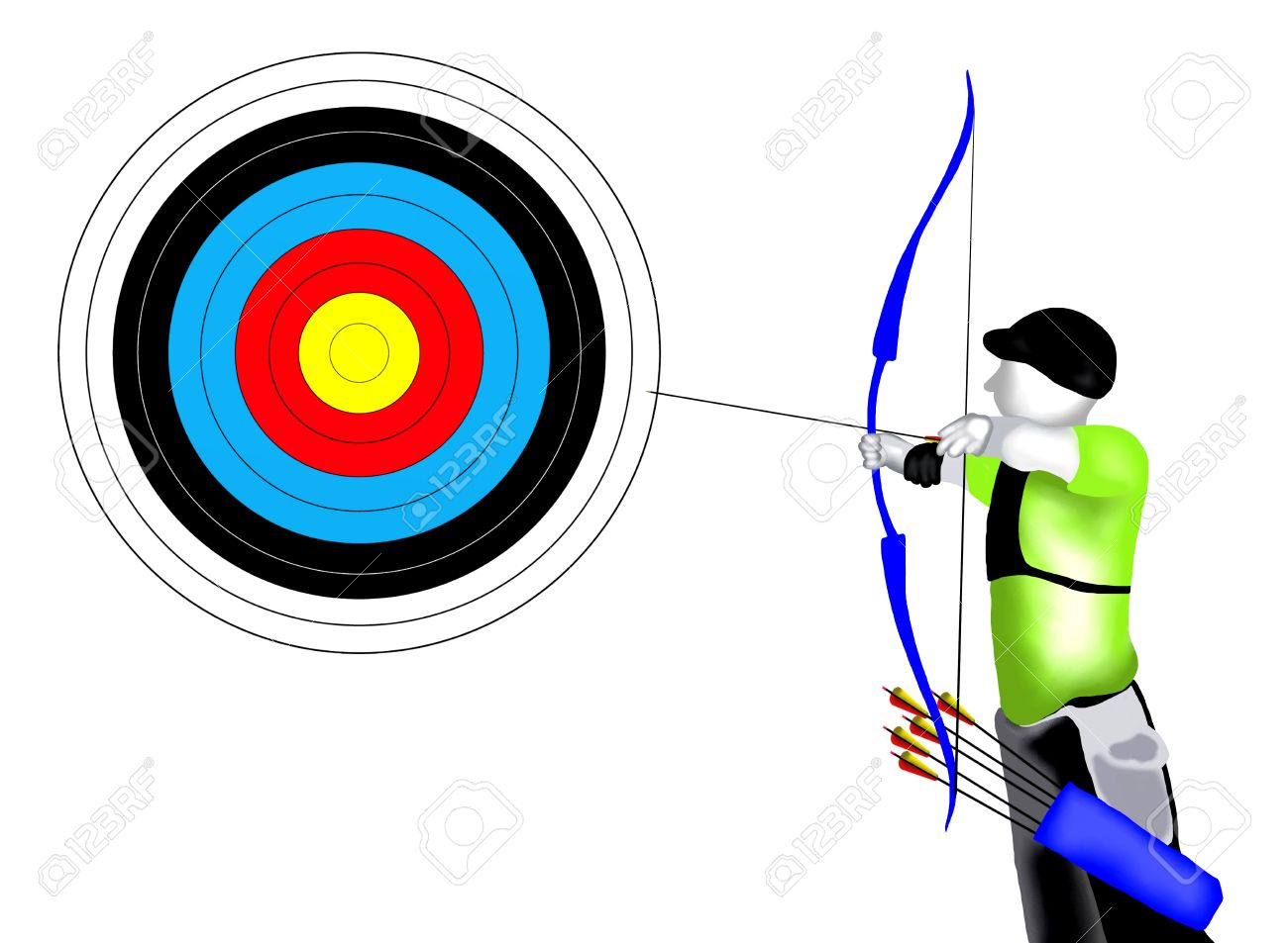 Shooting arrow target clipart free download Archery Professional Archer Shooting An Arrow At A Target.. Stock ... free download