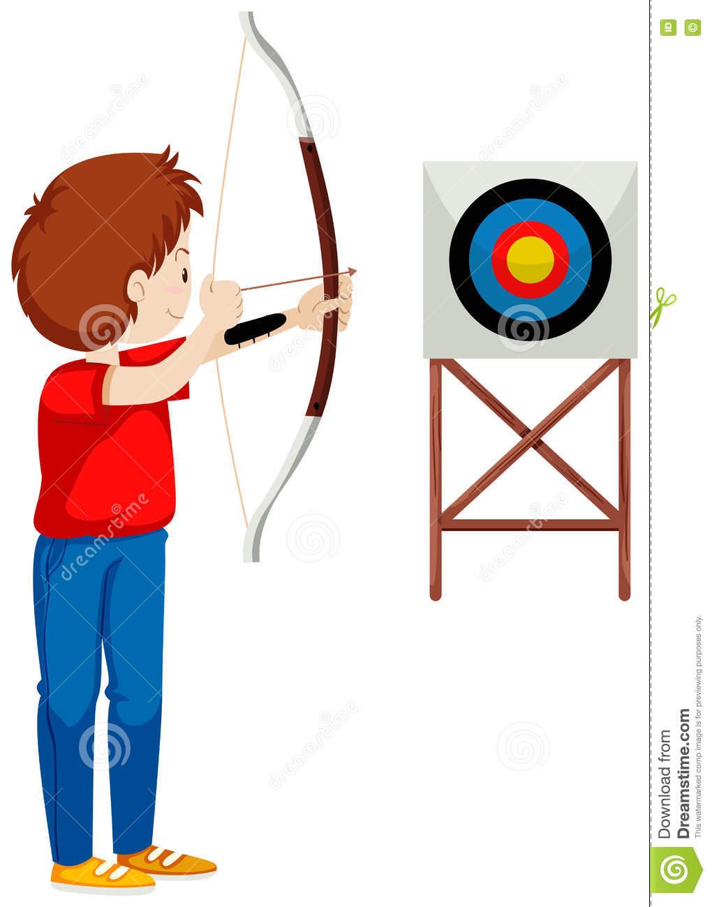 Shooting arrow target clipart image Man Shooting Arrow At The Target Stock Vector - Image: 73354092 image
