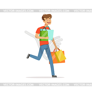 Shopaholic clipart graphic royalty free download Crazy man with paper shopping bags, shopaholic man - vector ... graphic royalty free download