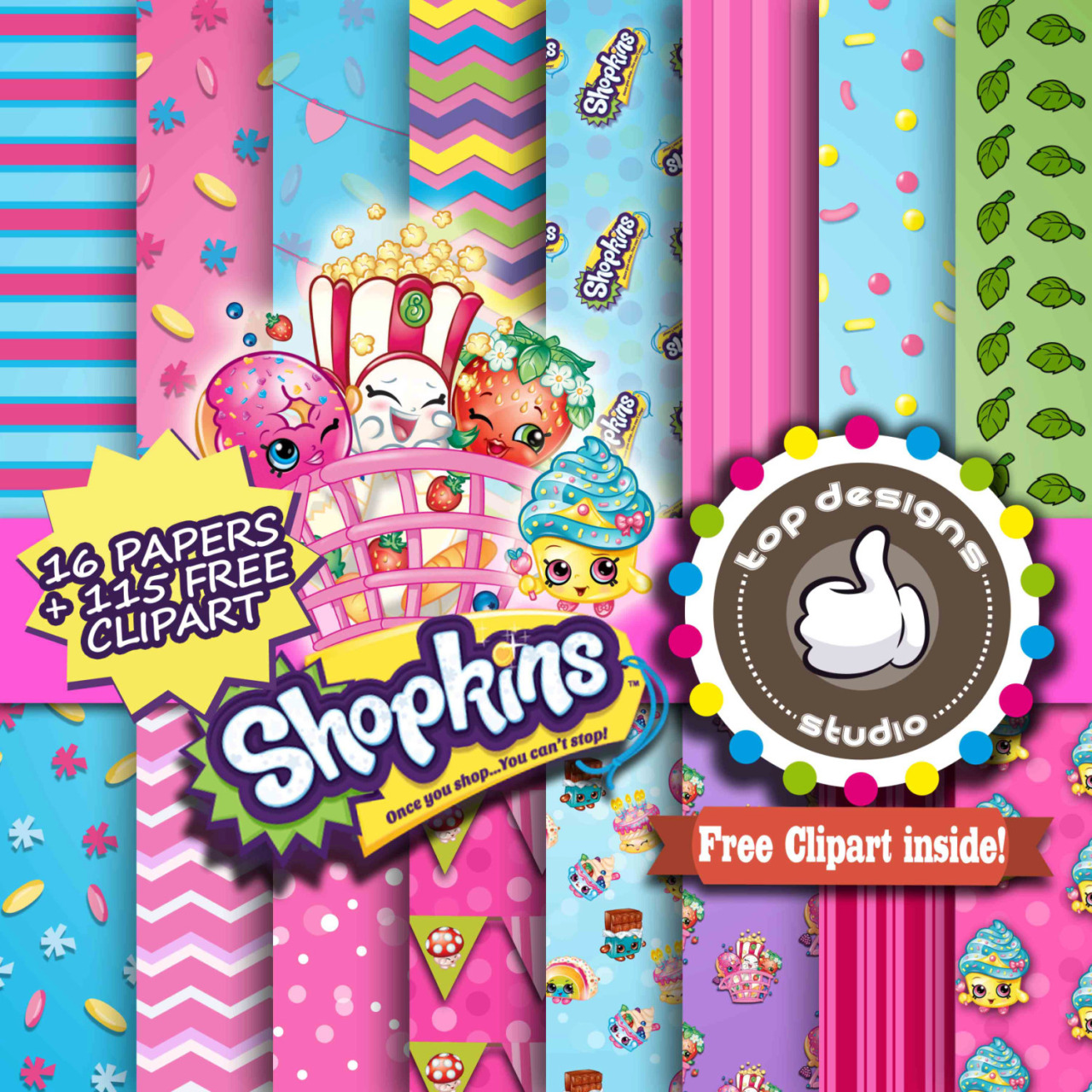 Shopkins clipart background vector royalty free download Digital Art For All You Robots — Shopkins Digital Paper ... vector royalty free download