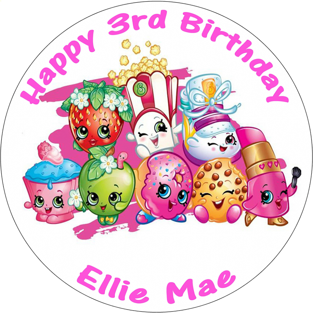 Shopkins clipart birthday banner black and white library SHOPKINS PERSONALISED ROUND BIRTHDAY CAKE TOPPER banner black and white library