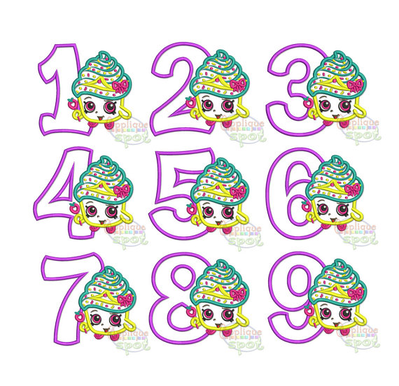 Shopkins clipart cupcake queen freeuse download Shopkins Cupcake Queen Birthday Set 1-9 Numbers 4 sizes freeuse download