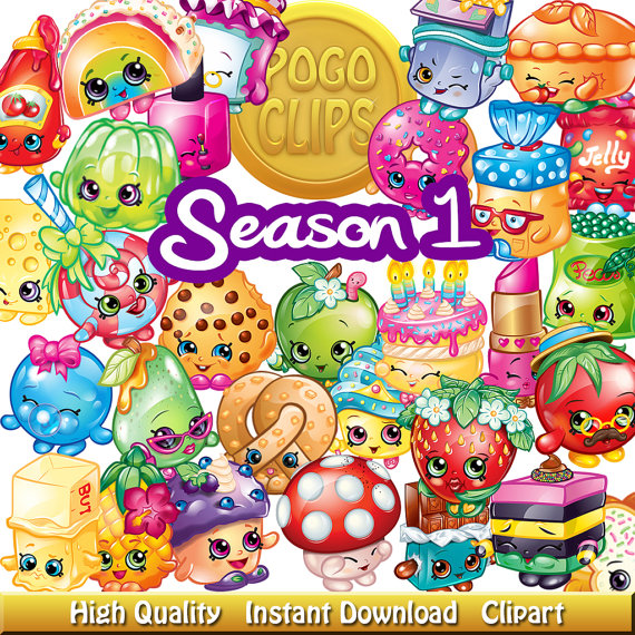 Shopkins clipart season 1 free stock 80 Shopkins Fruit and Vegetables Characters / Clip Art DIY Instant ... free stock