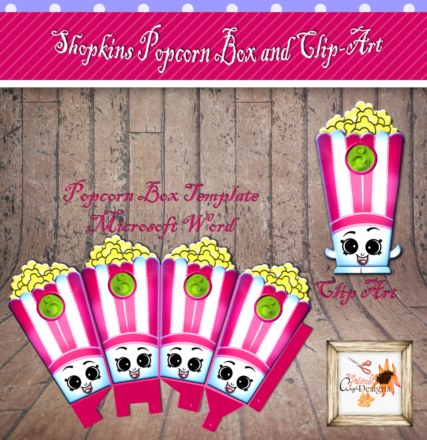 Shopkins printable clipart banner transparent stock Little Groceries Pop Corn Birthday Party Printable Template with ... banner transparent stock