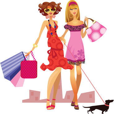 Shopping graphics clipart vector transparent stock Fashion shopping girls clip art free vector download ... vector transparent stock