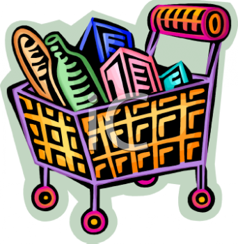 Shopping for food clipart clipart transparent stock Cartoon Shopping Basket Full of Food - Royalty Free Clip Art Picture clipart transparent stock