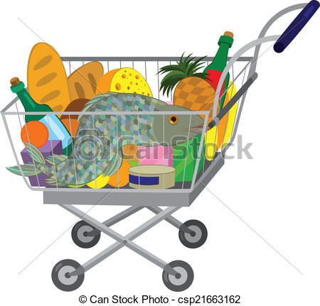 Shopping for food clipart clip art Clip Art Vector of Grocery store shopping cart with food items and ... clip art