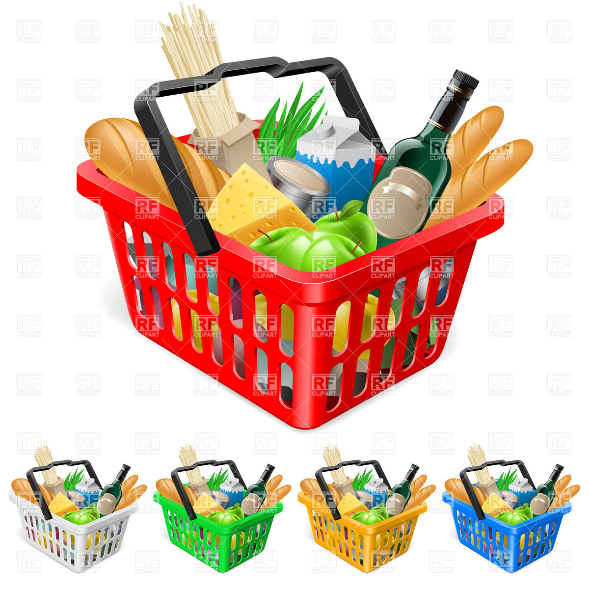 Shopping for food clipart clip art royalty free download Shopping basket with food Vector Image #8054 – RFclipart clip art royalty free download