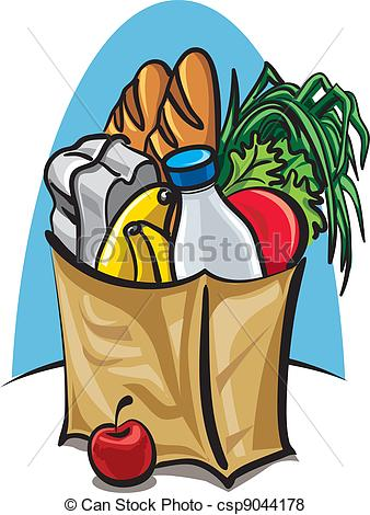 Shopping for food clipart png royalty free stock Vector of shopping bag with food csp9044178 - Search Clip Art ... png royalty free stock