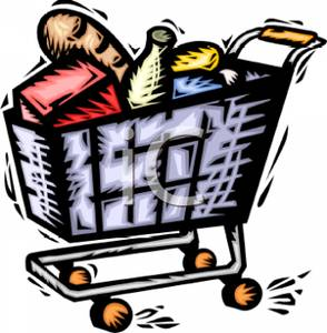 Shopping for food clipart picture free Free Clipart Image: A Shopping Cart Full of Food picture free