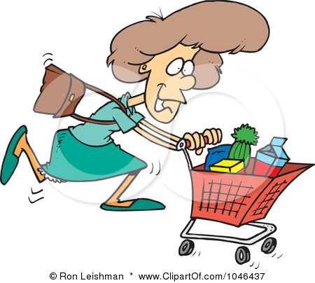 Shopping for food clipart vector black and white Shopping Cart With Food Clipart - Clipart Kid vector black and white