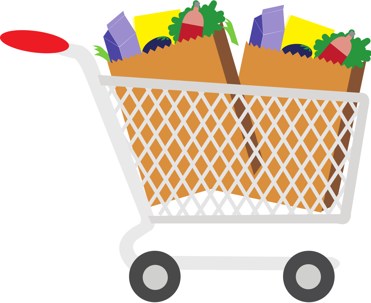 Shopping for food clipart svg Shopping Cart With Food Clipart - Clipart Kid svg