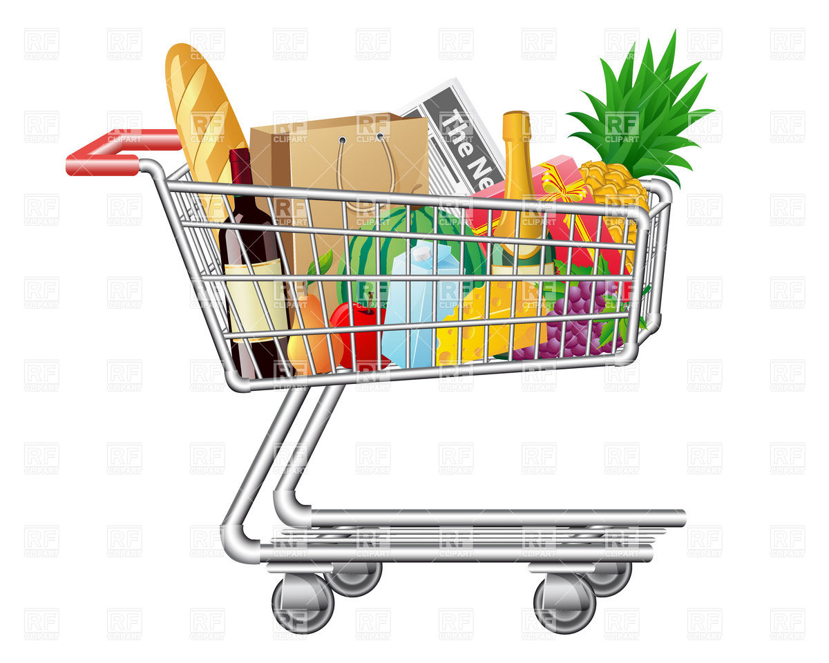Shopping for food clipart svg black and white Shopping Cart With Food Clipart - Clipart Kid svg black and white