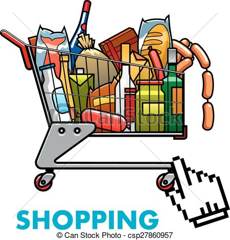 Shopping for food clipart banner black and white stock Shopping cart with food clipart - ClipartFest banner black and white stock