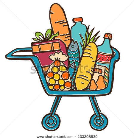 Shopping for food clipart vector royalty free library Shopping Cart With Food Clipart - Clipart Kid vector royalty free library