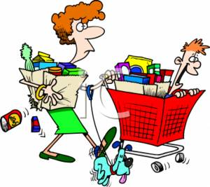 Shopping for food clipart graphic royalty free download Cartoon Clipart Picture of a Stressed Out Mom Grocery Shopping graphic royalty free download