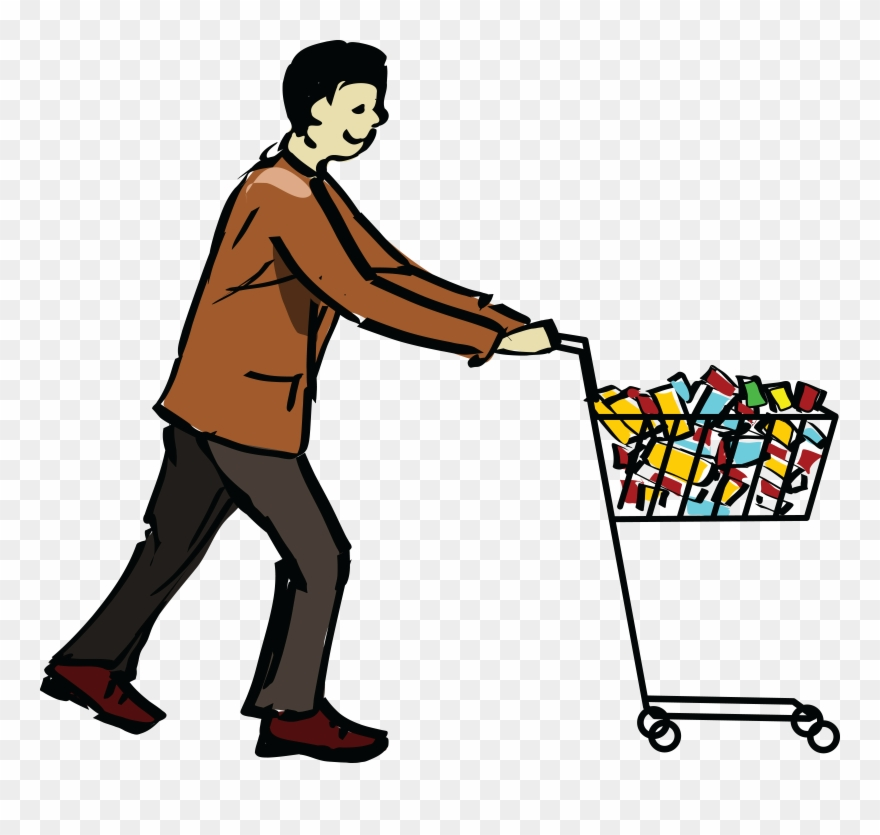 Shopping free clipart clip art free download Free Clipart Of A Man Pushing A Grocery Shopping Cart ... clip art free download