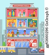 Shopping mall clipart graphic freeuse Shopping Mall Clip Art - Royalty Free - GoGraph graphic freeuse
