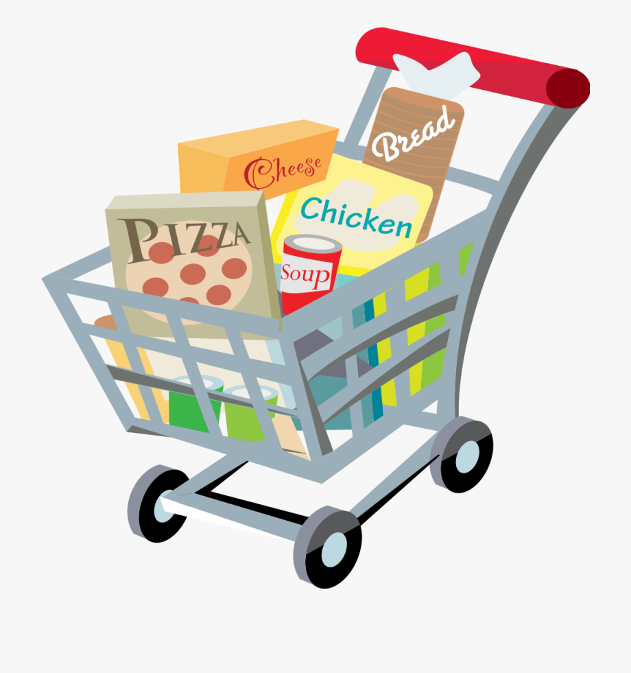 Shopping trolley clipart free png black and white stock Shopping Cart With Food Clip Art - Trolley Clipart ... png black and white stock