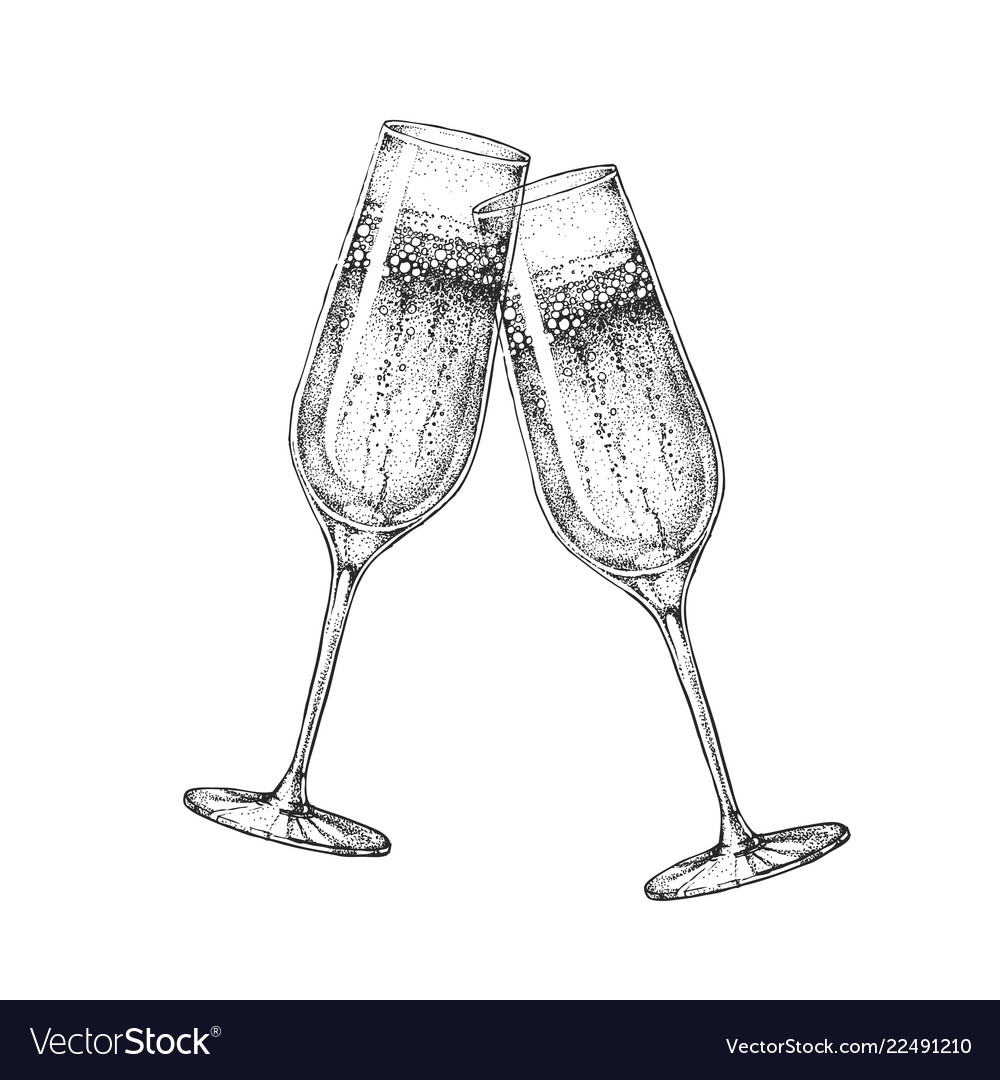 Shot glasses clinking clipart clip art royalty free Hand drawing two clinking champagne glasses vector image clip art royalty free