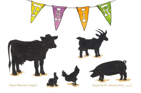 Showing animals at the fair clipart png library library County Fair Farm Animal Silhouettes by SaylorWolf ... png library library