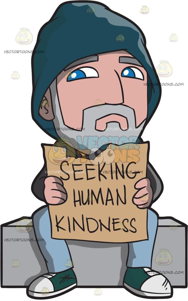Showing kindness clipart clip transparent A Homeless Old Man Seeking Human Kindness Cartoon Clipart clip transparent