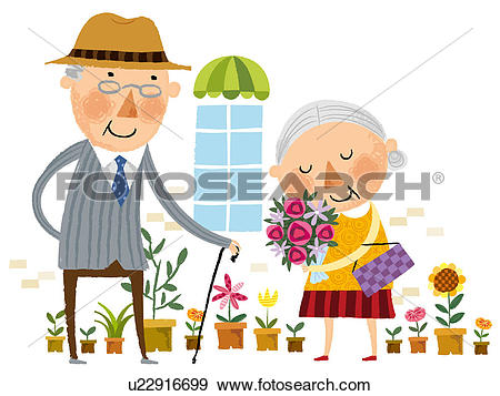 Showing love clipart svg library library Stock Illustration of Elderly man showing love for elderly wife ... svg library library