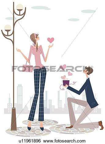 Showing love clipart jpg royalty free Stock Illustration of Contemporary Man Showing Woman Love ... jpg royalty free
