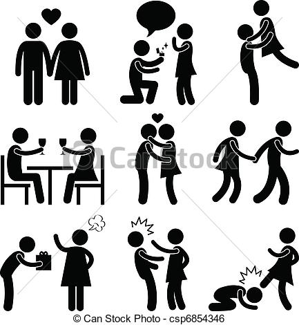 Showing love clipart vector royalty free library Clip Art Vector of Lover Couple Love Proposal Hug - A set of ... vector royalty free library