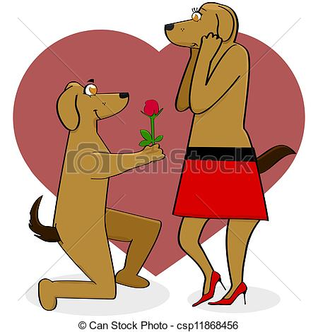Showing love clipart clip library library Clipart Vector of Dogs in love - Cartoon illustration showing a ... clip library library