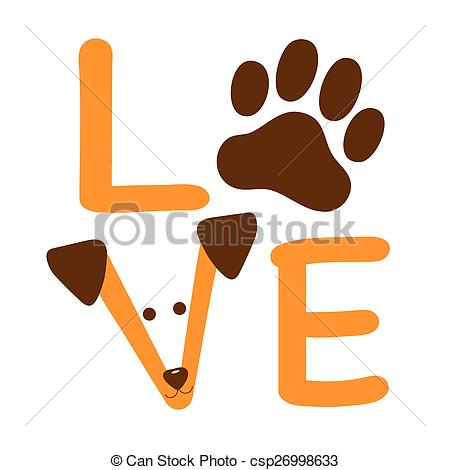 Showing love clipart royalty free stock Vectors of Love Dog - A graphic of the word love showing a dog paw ... royalty free stock