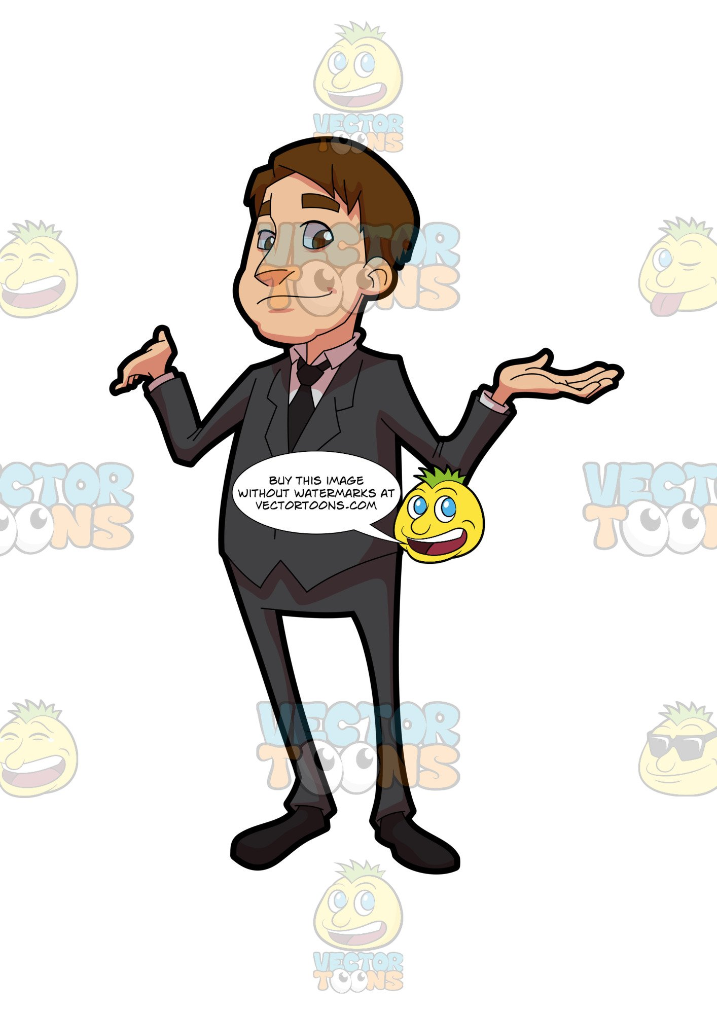 Shrugging someone off clipart banner transparent A Businessman Shrugging Off Some Idea banner transparent