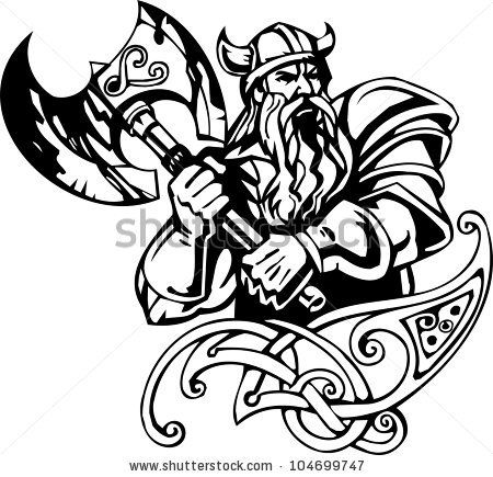 Viking tatto clipart svg library library Nordic viking - black white vector illustration. Vinyl-ready ... svg library library