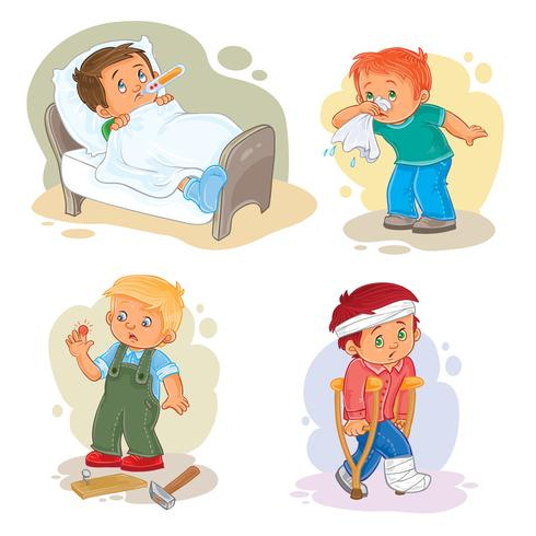 Sick little boy clipart clipart black and white library Set icons little boy sick Vector - Download Free Vector Art ... clipart black and white library