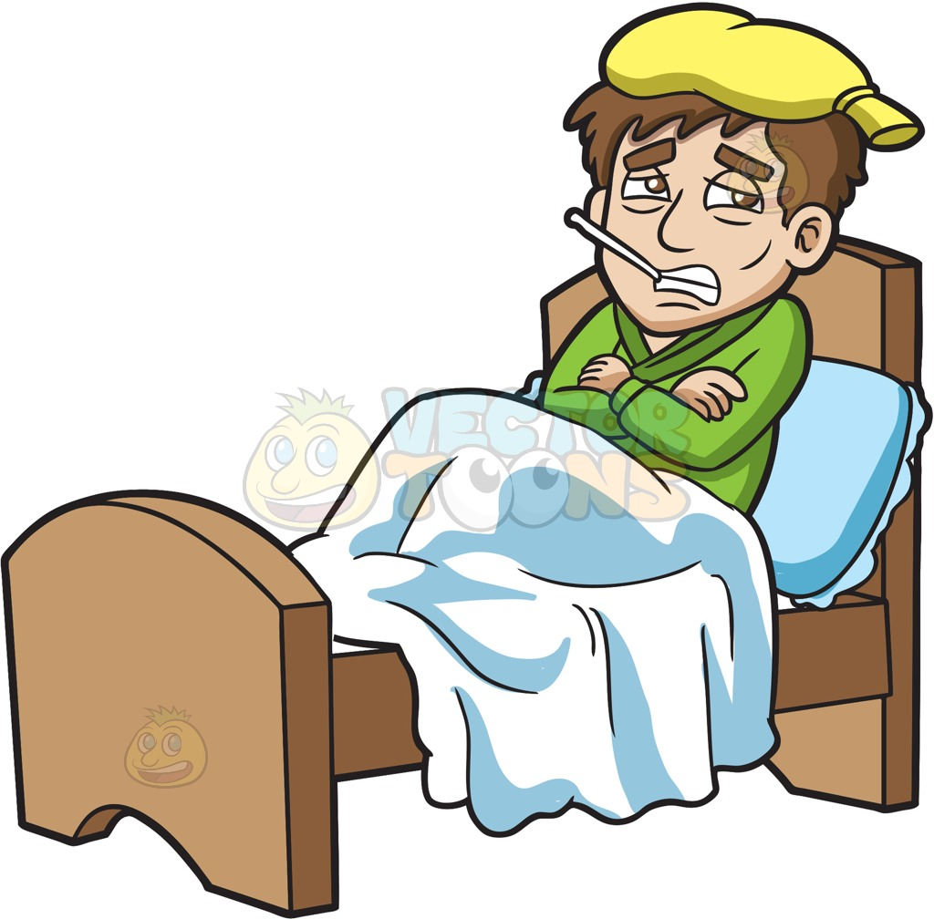 Sick man in bed clipart clipart royalty free stock A Shivering Sick Guy Resting In Bed : A Sick Man With - Free ... clipart royalty free stock