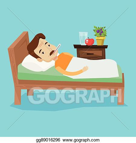 Sick man in bed clipart image royalty free library Vector Art - Sick man with thermometer laying in bed ... image royalty free library