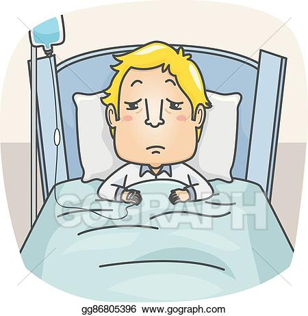 Sick man in bed clipart image stock Vector Art - Man sick hospital bed. Clipart Drawing ... image stock