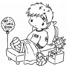 Sick or injured child black and white clipart png black and white Top 25 Free Printable Get Well Soon Coloring Pages Online png black and white