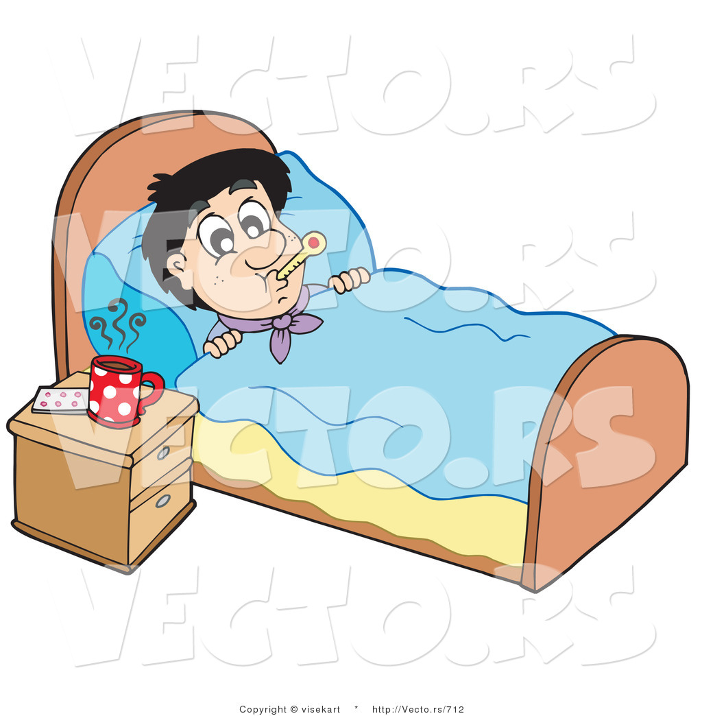 Sick person in bed clipart black and white download Vector of a Sick Young Man at Rest in His Bed by visekart - #712 black and white download