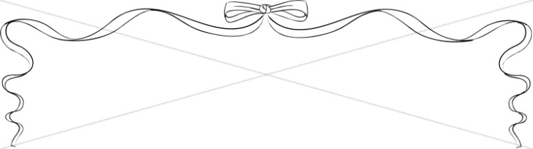 Side page ribbons clipart jpg free BW Line Art Ribbon Bow Page Top | Party Borders jpg free