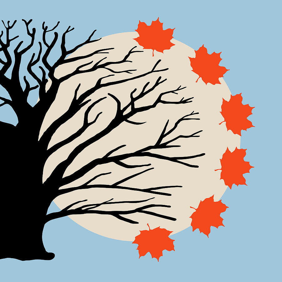 Side tree with fall leaves clipart