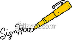 Sign here clipart vector freeuse library A Ballpoint Pen and Sign Here - Royalty Free Clipart Picture vector freeuse library