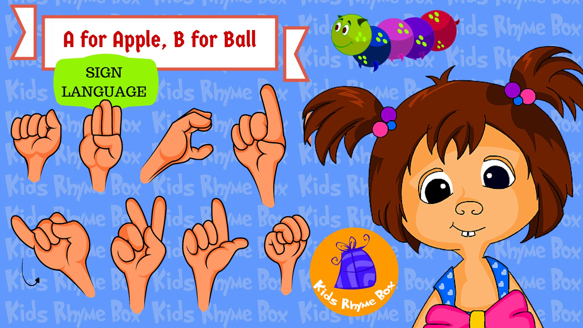 Sign language alphabet clipart fro kids banner black and white library A for Apple Song - Learn Sign Language Alphabet | ASL | Kids Rhyme ... banner black and white library